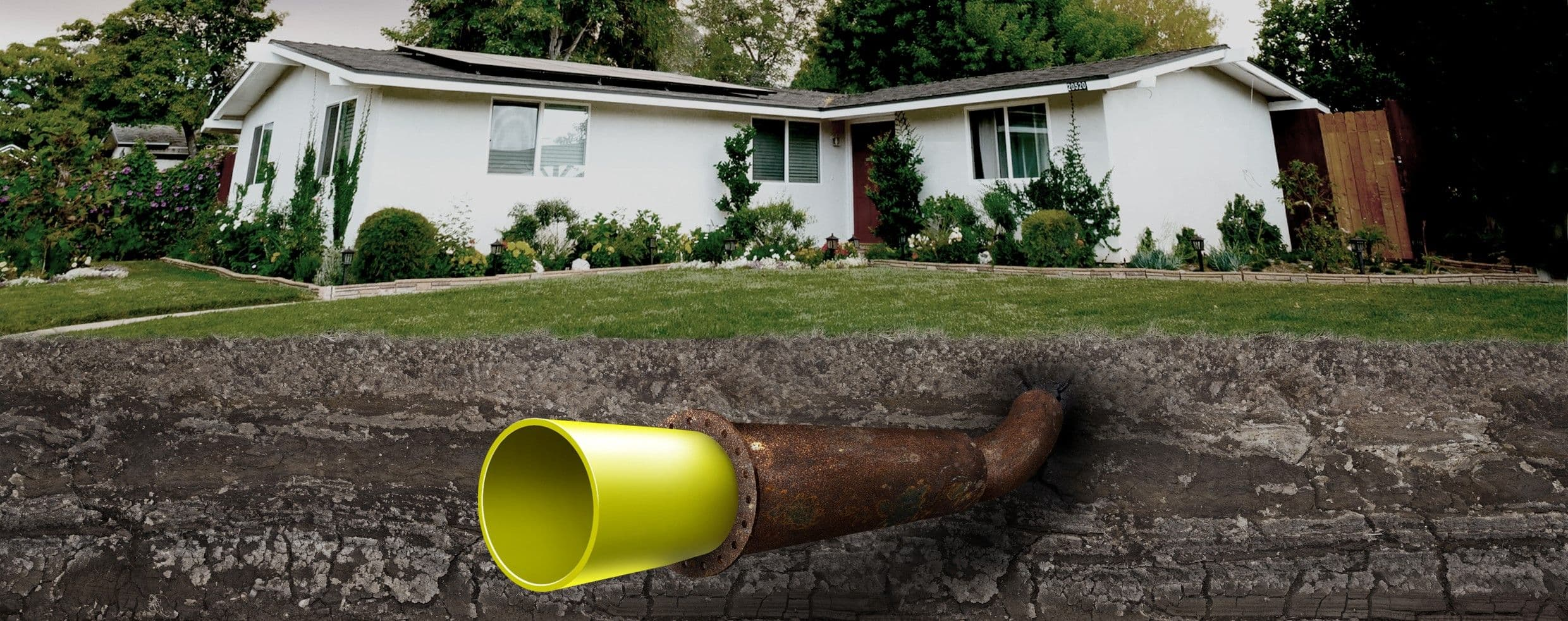 A Relined Pipe Running Under a House